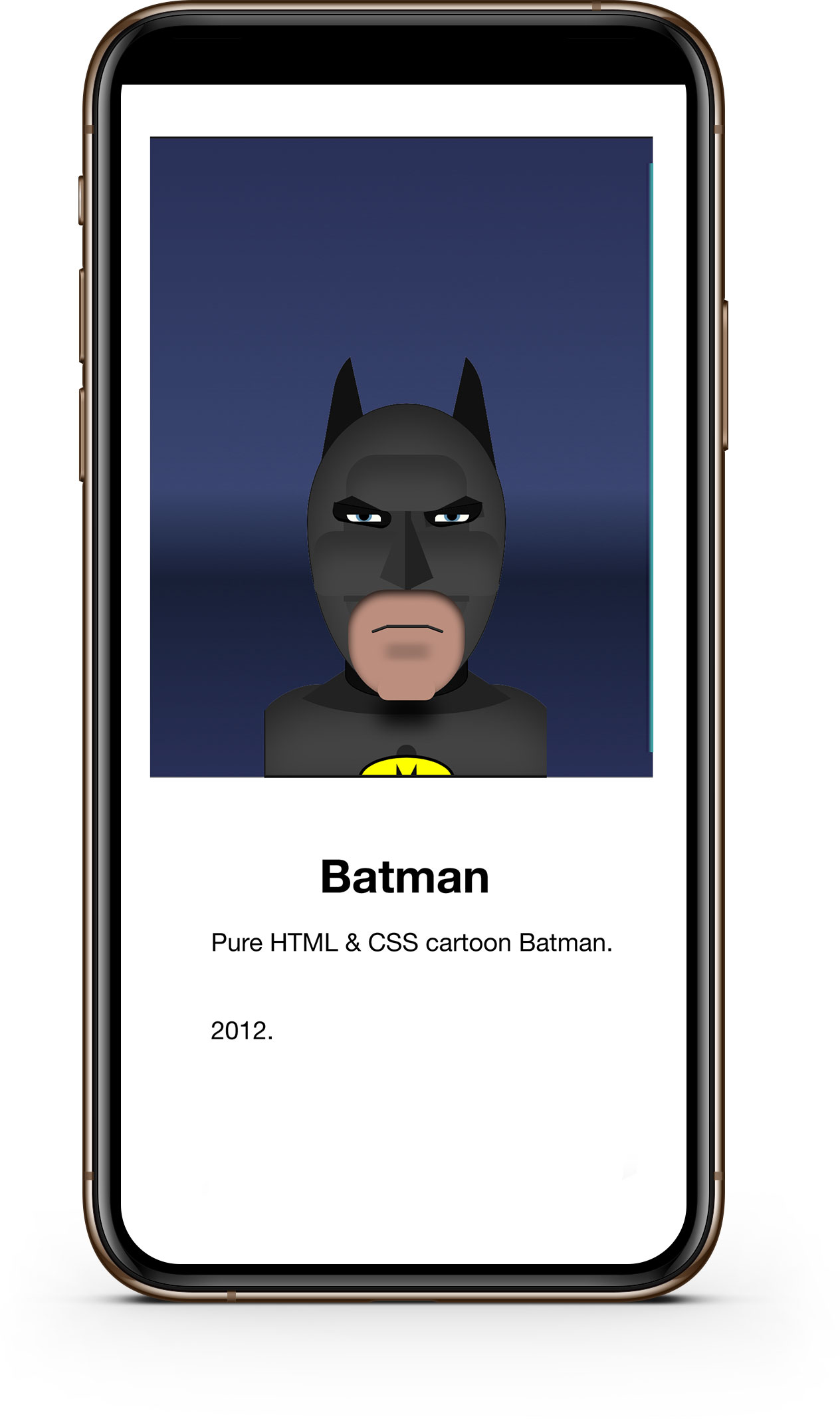 CSS Batman mobile screenshot.