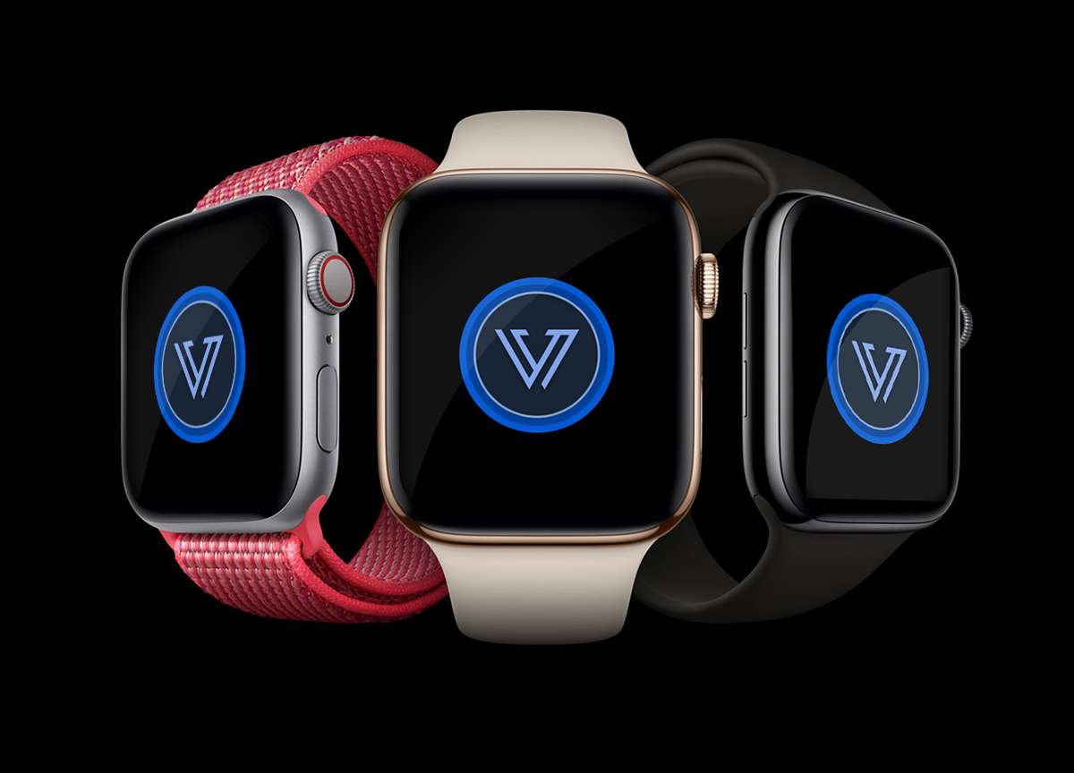Three Apple Watches with Vuild Logos.