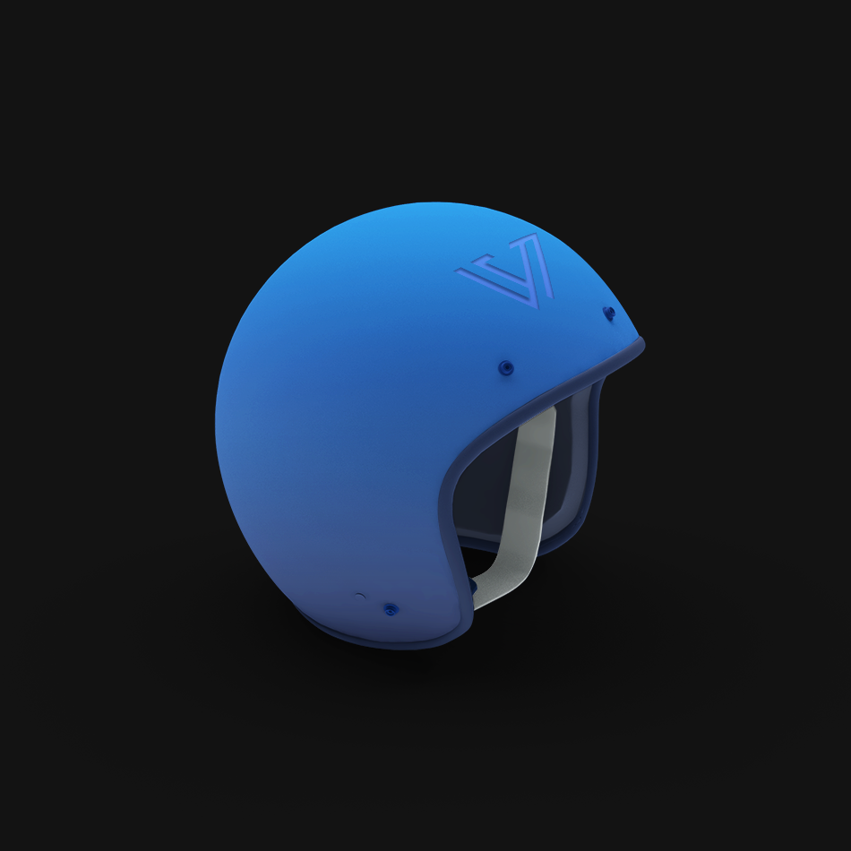 3D render of a blue helmet with a Vuild logo on the front